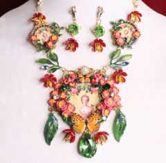 SOLD! 7000 Set Of Young Marie Antoinette Butterfly Cameo Necklace+ Earrings