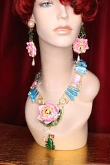 SOLD! 7003 Set Of Genuine Topaz Triplet Opal Water Lily The Prince Frog Necklace+ Earrings