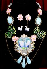 SOLD! 7004 Set Of Genuine Agate Painting On Agate Swan Couple Necklace+ Earrings