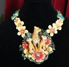 7005 Art Jewelry 3D Effect Cheetah Family Flowers Hand Painted Necklace