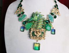 7007 Medieval Genuine Agate Dragon Veins Agate Dragon Necklace