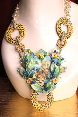 SOLD! 7009 Art Jewelry Painting On Agate Cheetah Tiger Jungle Massive Necklace