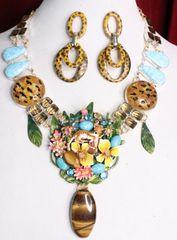 7012 Set Of Baroque Genuine Baltic Amber Larimar Tiger Eye Enamel Leopard Necklace+ Earrings
