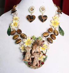 7013 Set Of Art Jewelry 3D Effect Baroque Genuine Tiger Eye Enamel Leopard's Family Necklace+ Earrings