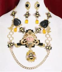 7010 Set Of Art Deco Genuine Agate Queen Bee Baroque Necklace+ Earrings