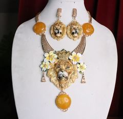 7015 Of Art Jewelry 3D Effect Baroque Lion Genuine Baltic Amber Flower Crown Necklace