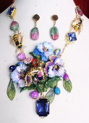 7020 Set Of Art Jewelry 3D Effect Baroque Enamel Leopard Violet Flower Necklace+ Earrings