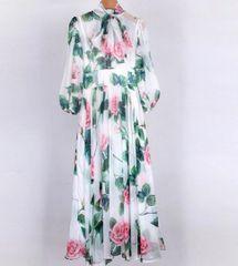 7021 Runway 2020 Silky Touch Rose Flower Print Maxi Dress