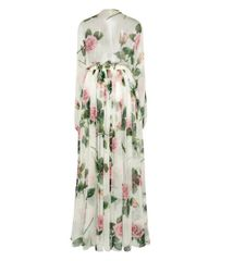 7022 Runway 2020 Silk Rose Flower Print Maxi Dress