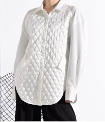 7028 Runway 2020 Quilted Oversized White Shirt Blouse