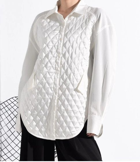 7028 Runway 2021 Quilted Heavy White Silky Oversized Shirt