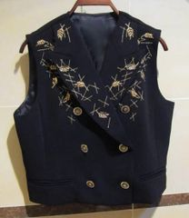 7029 Runway 2020 Elegant Embroidery Double Breasted Vest