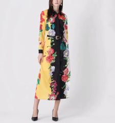 7030 Runway 2020 Flower Print Midi Shirt- Dress