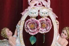 7034 Hand Painted Baroque 3D Effect Enamel Cat Rose Studs Earrings