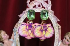 SOLD! 7035 Hand Painted Baroque 3D Effect Orchid Studs Earrings
