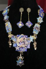 7037 Set Of Mystical Cherub Painting The Moon Star Necklace+ Earrings