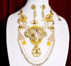 SOLD! 7038 Set Of Art Deco Sunny Honey Queen Bee Baroque Necklace+ Earrings