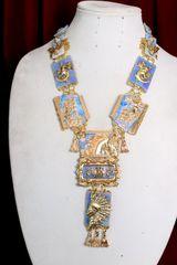 7040 Roman Revival Horse Massive Long Enamel Hand Painted Necklace
