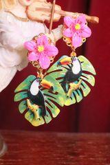 SOLD! 7041 Baroque Palm Leaf Toucan Earrings