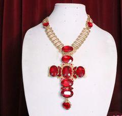 7042 Alta Moda Red Cross Crystal Stunning Huge Pendant Necklace