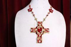 7043 Alta Moda Baroque Red Cross Crystal Stunning Huge Pendant Necklace