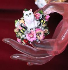 SOLD! 7045 Baroque Art Jewelry Kitty Cat Cocktail Adjustable Ring