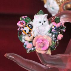 7046 Baroque Art Jewelry Kitty Cat Cocktail Adjustable Ring