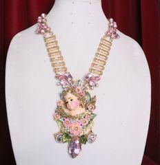 7047 Baroque Hand Painted Chubby Cherub Angel Huge Pendant Necklace