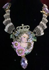 7048 Baroque Hand Painted Chubby Cherub Angel Winged Huge Pendant Necklace