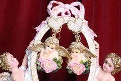 7051 Baroque Raphael Cherubs Pearl Heart Hand Painted Earrings