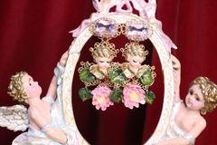 7052 Baroque Sleeping Cherubs Hand Painted Earrings