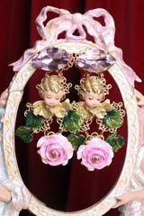 7053 Baroque Sleeping Cherubs Hand Painted Roses Earrings