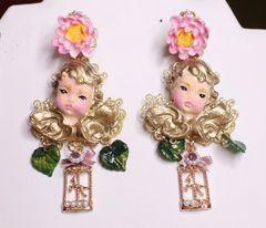 7054 Baroque Cherubs Hand Painted Roses Earrings
