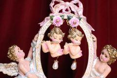 7055 Baroque Musical Cherubs Hand Painted Roses Earrings