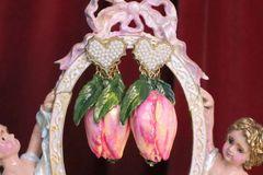 7056 Baroque Hand Painted Tulip Earrings