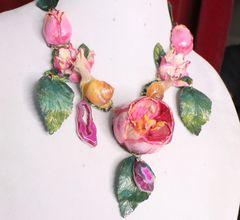 7057 Art Nouveau Hand Painted Vivid Tulips Snails Genuine Agates Necklace