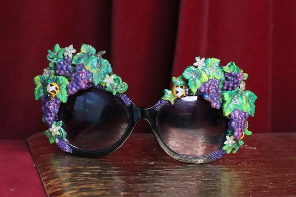 7058 Baroque Grapes Hand Painted Embellished Embellished Sunglasses