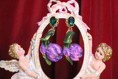 7060 Baroque Hand Painted Enamel Tulip Earrings