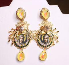 7061 Virgin Mary Yellow Rhinestones Earrings
