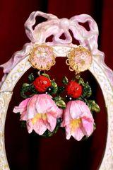 7064 Baroque Hand Painted Enamel Tulip Ladybug Earrings