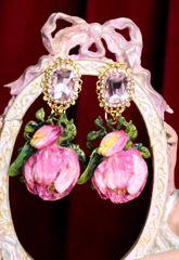 7065 Baroque Hand Painted Enamel Tulip Earrings