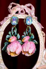 SOLD! 7066 Baroque Hand Painted Enamel Tulip Earrings