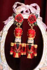7067 Baroque Hand Painted Enamel Nutrcaker Earrings