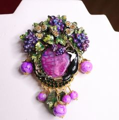 SOLD! 7068 Genuine Solar Quartz Fable The Fox And Grapes Huge Brooch