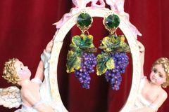 7071 Baroque Hand Painted Enamel Grapes Earrings