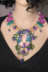 7072 Set OF Genuine Malachite Solar Quartz Hand Painted Vivid Grapes Victorian Lady Necklace+ Earrings