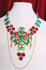 7073 Medieval Genuine Malachite Ruby Eagle Vivid Huge Necklace