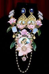 SOLD! 7074 Virgin Mary Genuine Milky Opal Roses Huge Necklace