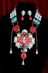 SOLD! 7075 Set Of The Great Gatsby Genuine Coral Smithsonite Mask Huge Necklace