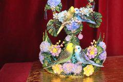 7076 Hand Painted Love Birds Parrots Flowers Headband Crown